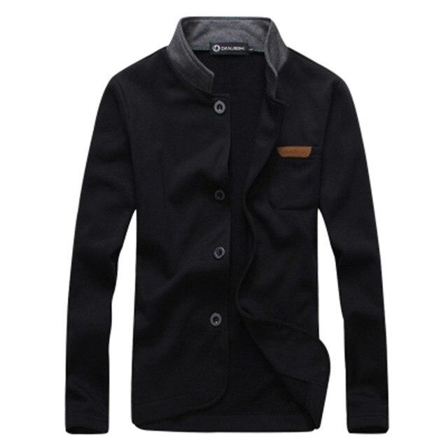 Бесплатная доставка 2015 сплошной цвет простой! простые вышитые кожа стандарт Тонкий воротник кардиган пальто Мужчины