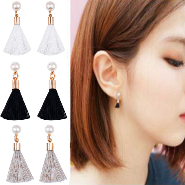 Famshin 2017 Korean Simple Short Section Tel Nail Jewelry Trend Imitation Pearl Female Earrings