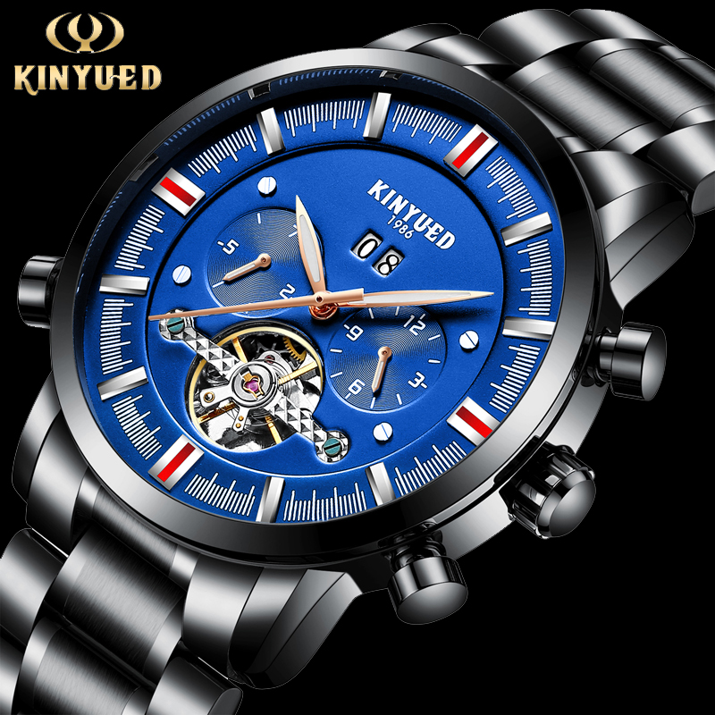 KINYUED Top Brand Mens Tourbillon Automatic Watch Men Calendar Steel Mechanical Watches Skeleton Steampunk Relogio Masculino цены