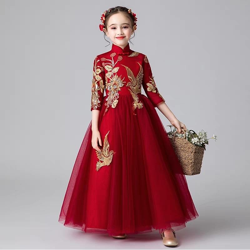 cb97579b215 Children Girls Fashion Wine Red Chinese Style New Year Christmas · Christmas  Formal Dress
