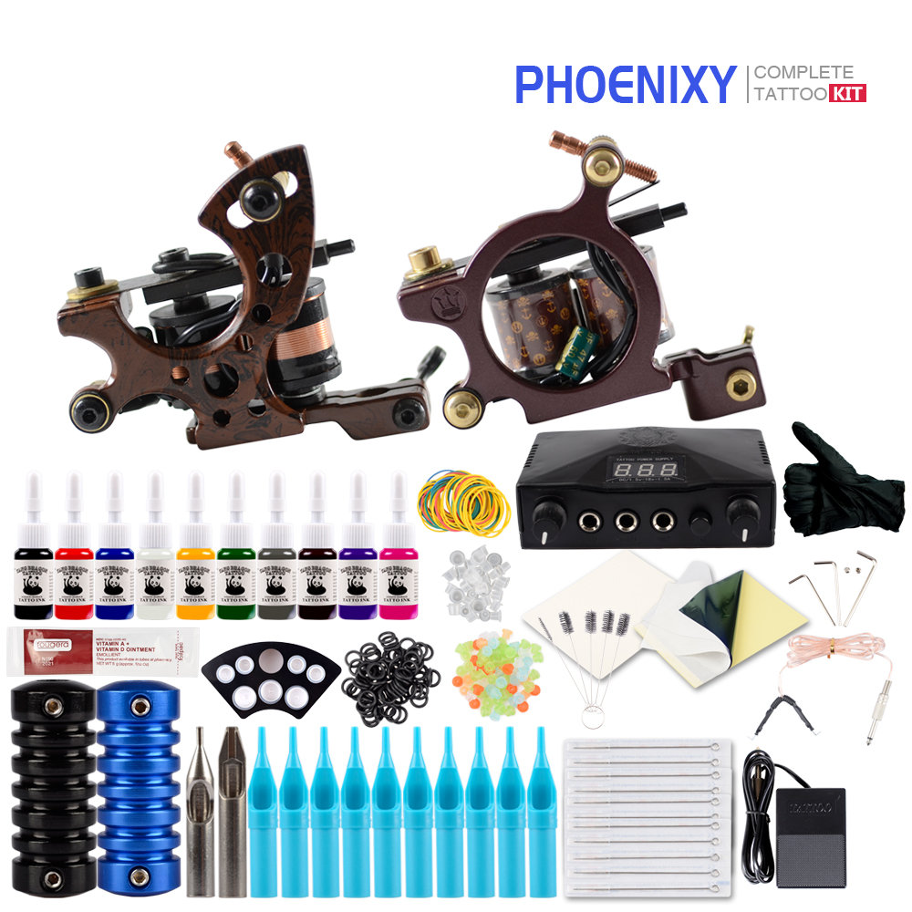Complete Tattoo Machine Kit Set 2 Coils Guns 10 Colors Black Pigment Sets Power Tattoo Beginner Grips Kits Permanent MakeupComplete Tattoo Machine Kit Set 2 Coils Guns 10 Colors Black Pigment Sets Power Tattoo Beginner Grips Kits Permanent Makeup