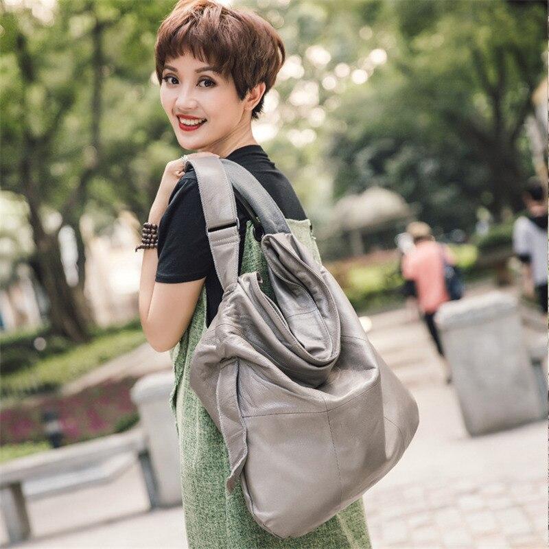 Bagaj ve Çantalar'ten Omuz Çantaları'de Lüks marka Hakiki deri Bayan çanta Messenger Omuz Büyük kapasiteli çanta yumuşak % 100% Gerçek hakiki deri çanta Kadın 2018'da  Grup 1