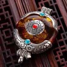 Непальские украшения ручной работы, благоприятный Тибетский мир, серебряные коралловые амберы, кулон, пчелиный воск, амулет, кулон