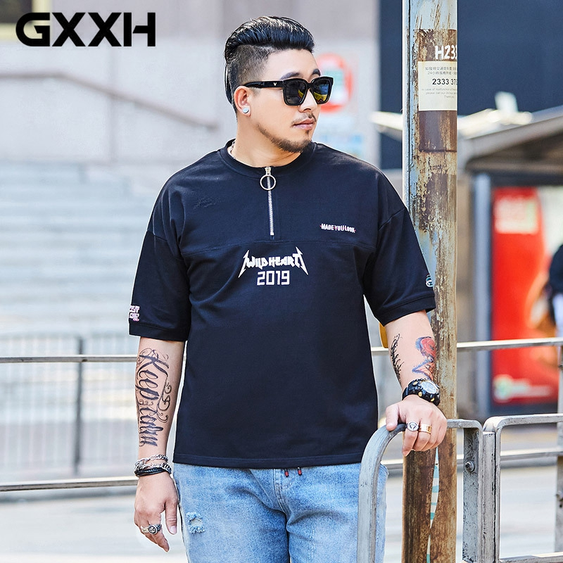 Plus Size Men Half sleeved Zipper T shirt Summer New Style Stitching Tee Men's Fashion Street Clothes Homme Oversize Men Tops
