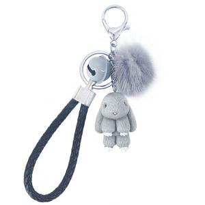 Rabbit Keychain Keyring Pendant-Decoration Pom-Poms Fluffy-Fur-Ball Pokemon Women Bags