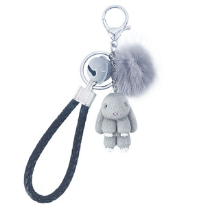 Rabbit Keychain Fluffy Fur Ball Key Chains for Women Bags Pendant Decoration Pom Poms Keyring Fashion Kids Easter Gifts