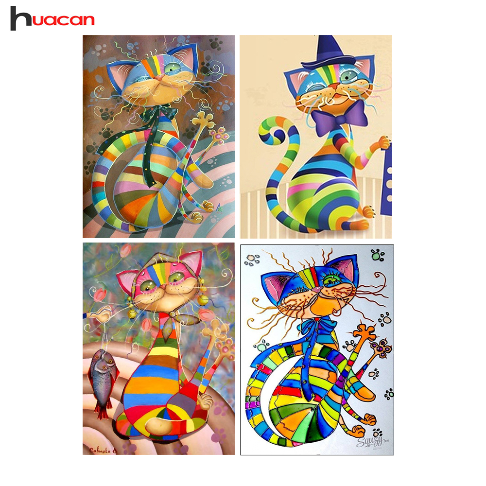 HUACAN Diamante Bordado Mosaico Gatos Regalo de la Costura Cuadrado Diamante Pintura Punto de Cruz Animal D