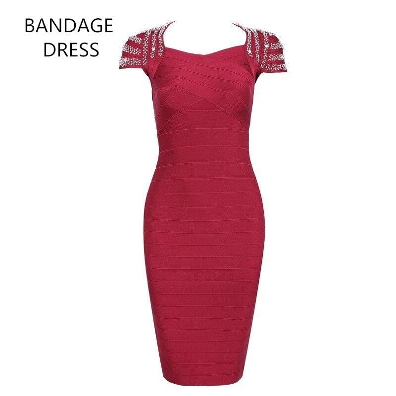 c712be5b52 ≧2017 BANDAGE DRESS New Fashion Short Sleeve Beaded Clubware Sexy ...