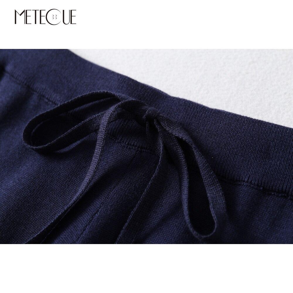 Jambe Cordon Automne Taille Pull 2018 Ensembles De Deux Bleu Élastique O Pantalon Côté Col Rayé 2 Pièces Marine Femme Avec Split Large TqwHZvF