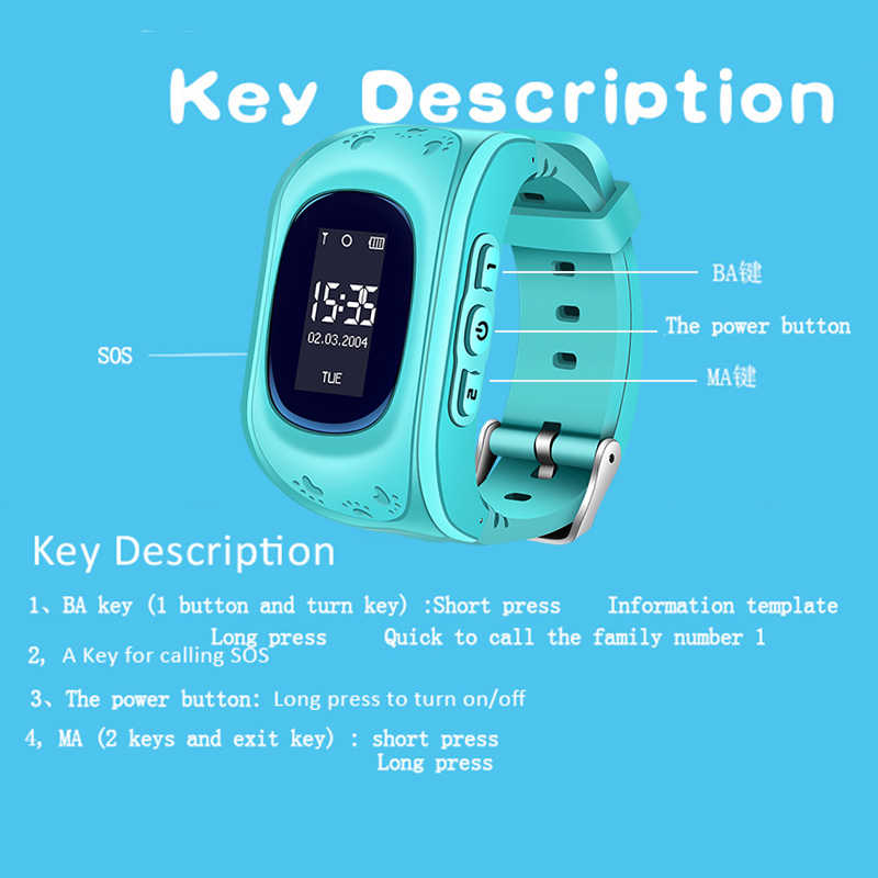 2018BANGWEI GPS Tracker Kids Smart Watch for Children Safety SOS Call Location Finder with SIM card Slot for iOS and Android