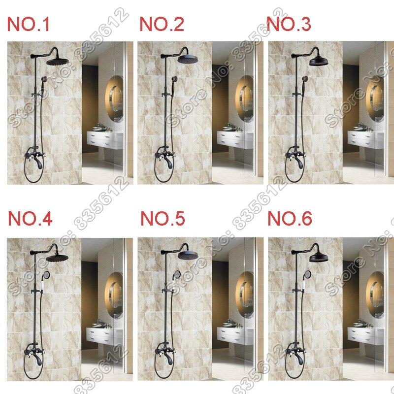 Robinet de douche rond en laiton avec finition en laiton, ensembles de robinets de baignoire frottés à l'huile noire avec robinets de douche à main Jhs004