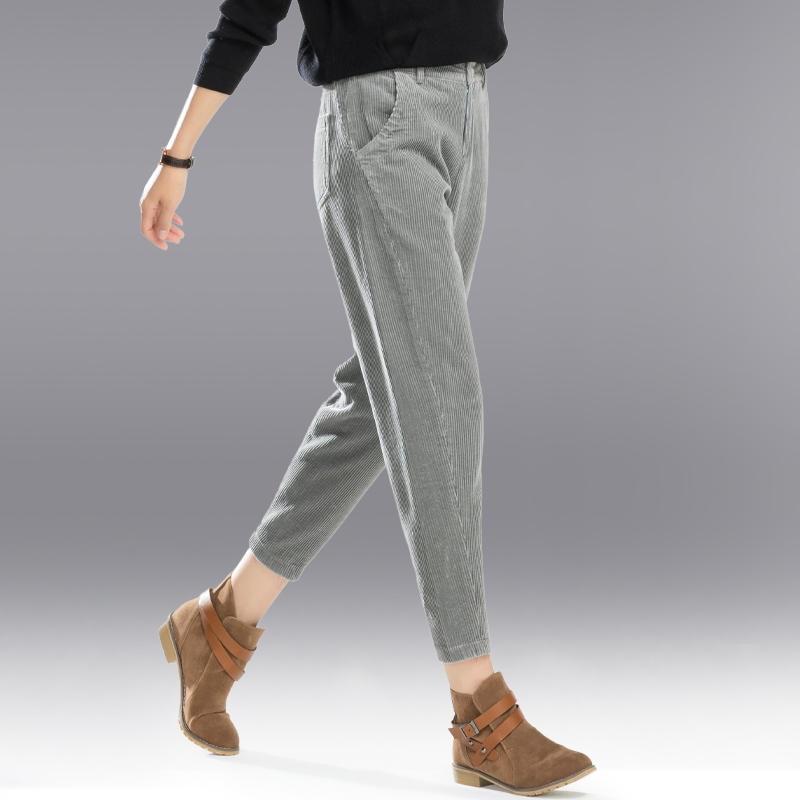 43edfead1ce3b Corduroy Pants Women Autumn High Waist Harem Pants Pantalon Femme Plus Size  Casual Trousers Women Black Gray Ladies Pants C4748
