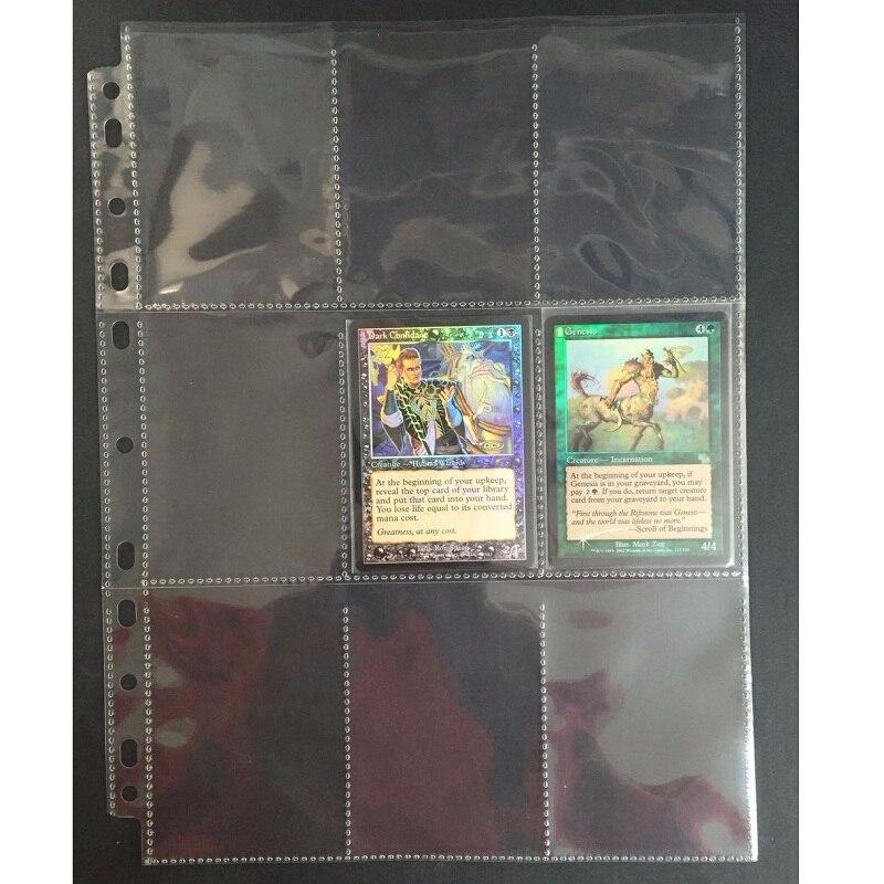 10-80 páginas 9 folhas jogo de tabuleiro cartões claros página cartão de negociação protetor a coleção mágica recolhendo transparente bolso página