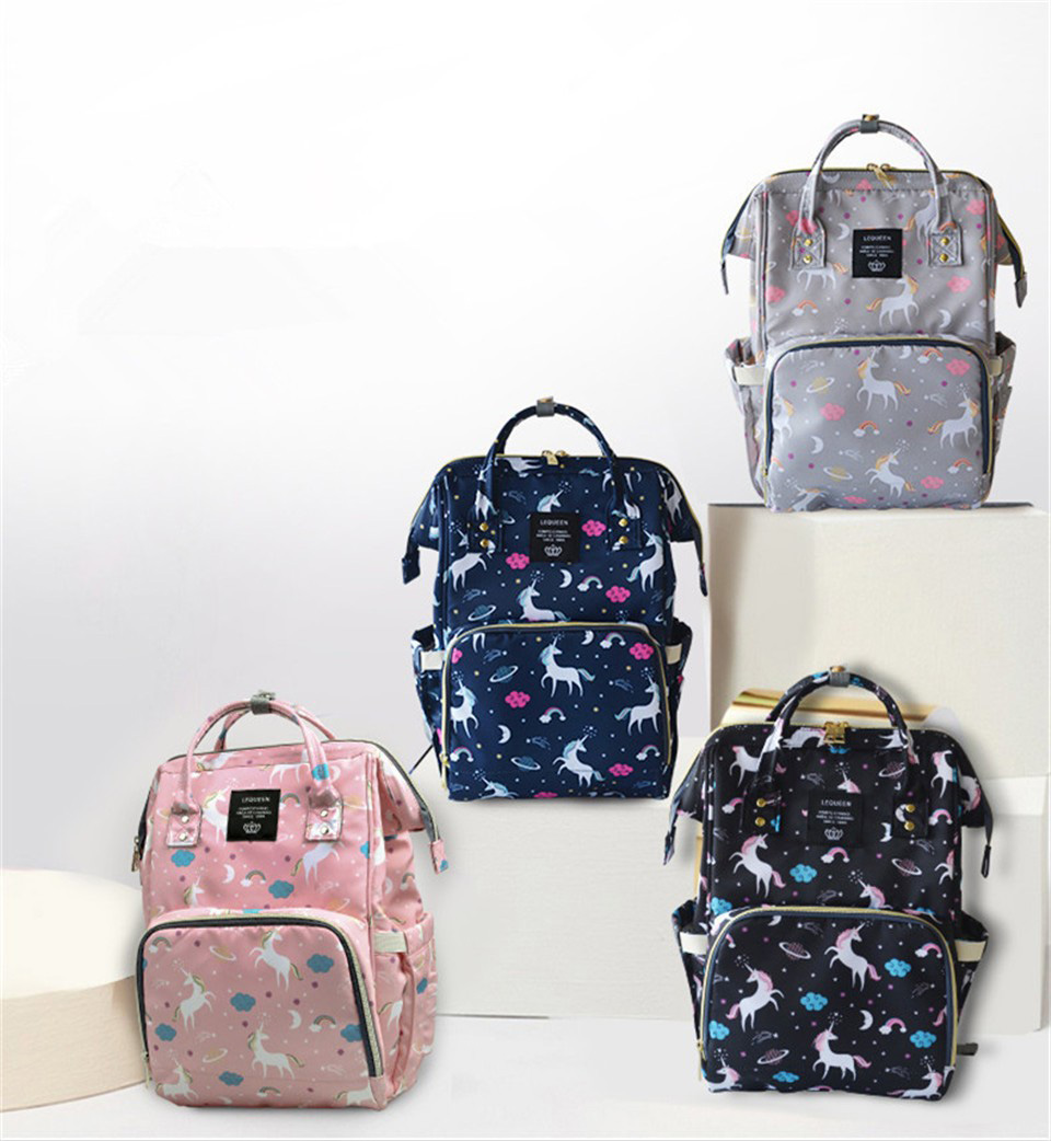 Unicorn Print Baby Care Diaper Bag Waterproof Mother Maternity Backpack Unicorn Nappy Bag Large Capacity Nappy Changing Baby Bag