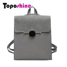 Toposhine 2017 Spring Women Backpack Quality PU Leather School Bag Women Casual Female Backpacks Black Gray