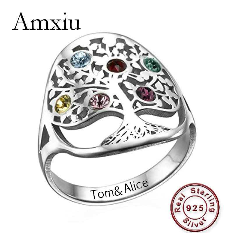Amxiu Personalized Tree Ring with Birthstones Engrave Family Names Rings Customize 925 Silver Ring For Women