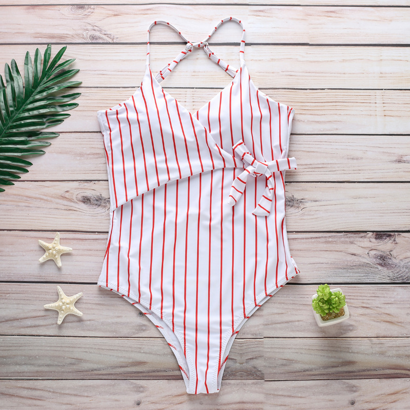 Speed Sells Wish Fashion Foreign Trade Bikini Europe and America Ladies Vertical Strip Print One piece Swimsuit Sexy Swimsuit in Body Suits from Sports Entertainment