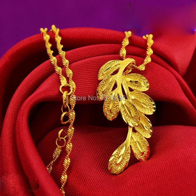 Peacock feather Pendant Necklace Chain Womens Solid 24K Yellow Gold