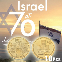 WR 10Pcs Gold Plated Israel 70th Anniversary Commemorative Coin Trump Silver Copy Coins for Home Decoration Collection gift
