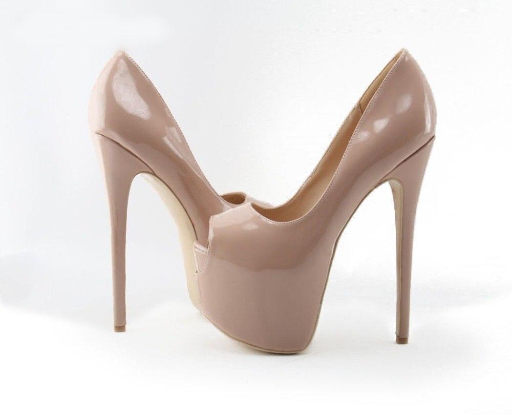 Del Alto De Mujeres Nude Negro 16 12cm Para Cm Abierto Cuero Ultra Pie Bombas Patente Tacón Heel 10cm Zapatos Plataforma Vestir Heel Las Dedo Ed06w6axq