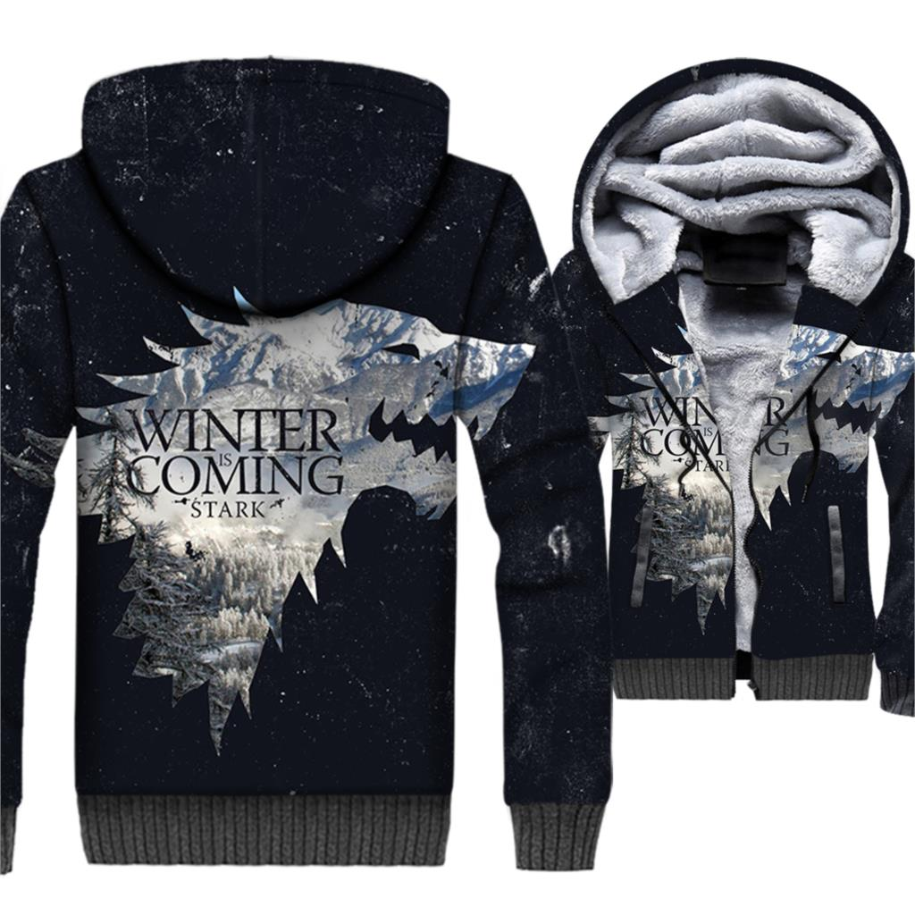 WINTER IS COMING Fashion Hoodies Men 2018 Thick Zipper Jackets Male Wolf 3D Men's Sweatshirts Game Of Thrones Streetwear Hoddies