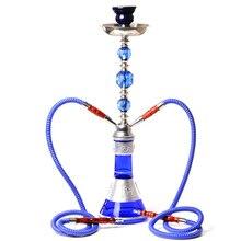 Middle Size Double Hose Glass Hookah Travel Shisha Pipe Set