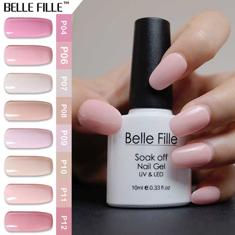 0c8fc3ebc2 BELLE FILLE Pink Gel Nail Polish UV 10ml Soak Off Gel Polish Pink Color  Series Gel Lacquer Nail Art Vernis Semi Permanent P11