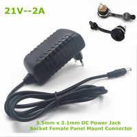 21 V 2A 18650 cargador de batería de litio 18 V cargador de batería de litio 5,5mm x 2,1mm conector de alimentación CC conector hembra de montaje en Panel