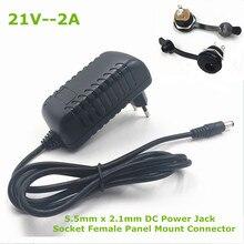 21V 2A 18650 Lithium Batterij Oplader 18V Lithium Batterij Oplader 5.5Mm X 2.1Mm Dc Power Jack socket Female Panel Mount Connector