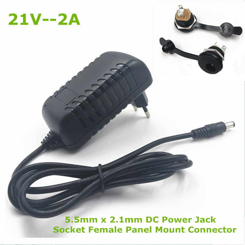 21V 2A 18650 Lithium Battery Charger 18V Lithium Battery Charger 5 5mm x 2 1mm DC Power Jack Socket Female Panel Mount Connector