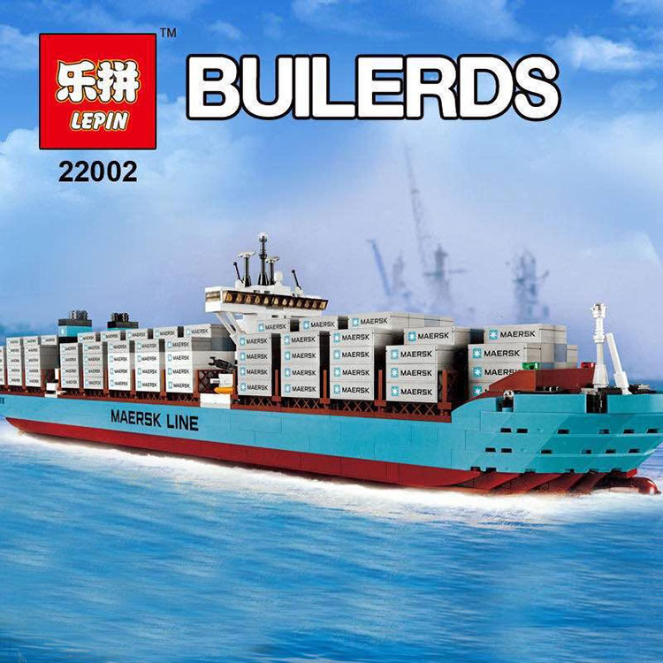 Lepin 22002 1518Pcs Technic Series legoing Maersk Cargo Container Ship Educational Building Blocks Bricks Model Toys Gift 10241 lepin 22002 1518pcs the maersk cargo container ship set educational building blocks bricks model toys compatible legoed 10241