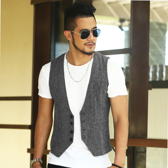 gilet homme costume casual linen slim fit dress suit vest men Single breasted Vintage sleeveless waistcoat chaleco hombre traje