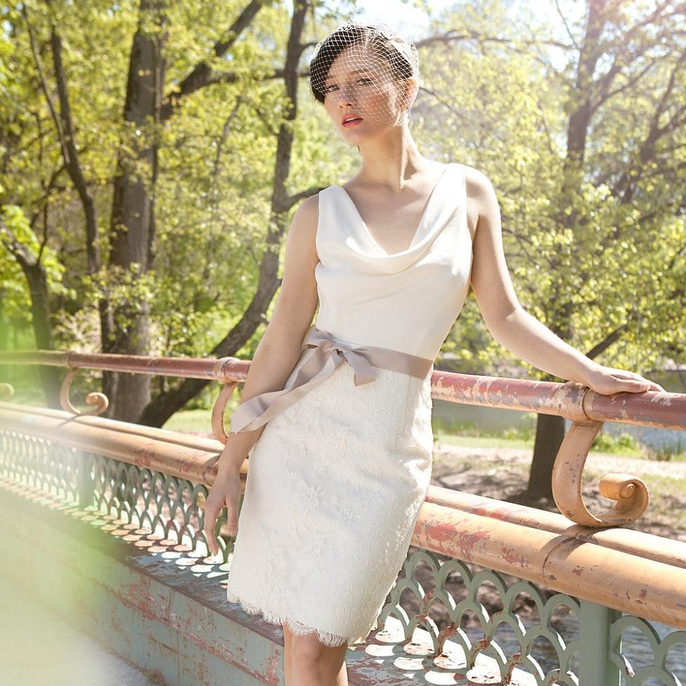 City Hall Wedding Dress Knee Length Short Reception Dress