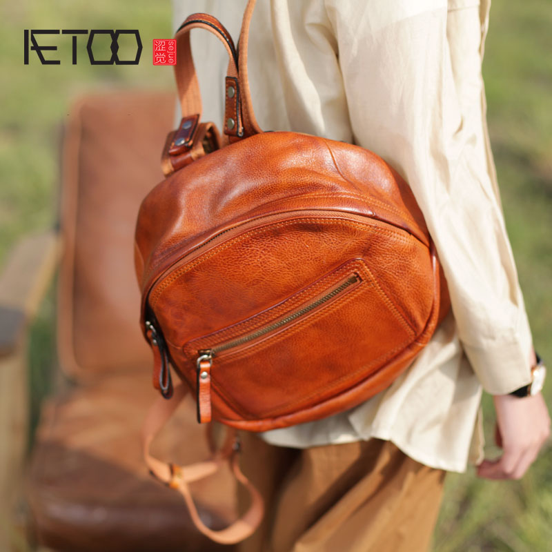 AETOO New wild personality tide retro handmade leather shell shoulder bag female art school national wind backpack aetoo original new backpack female cowhide leather casual retro art wild female backpack female bag personality