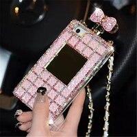 For Samsung Note 3 4 5 8 S5 S6 S7 edge S8 S9 Plus Diamond Crystal Rhinestone Mirror Lanyard Perfume Bottle Phone Case Back Cover