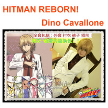 Hot Selling HITMAN REBORN COS Dino Cavallone Cosplay Costume Universal White Suit for Men Coat+Shirt+Pants+Tie