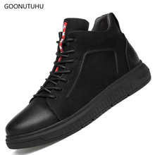 2019 new spring Fashion mens Vulcanized shoes casual genuine leather cow winter black big size shoe man platform for men