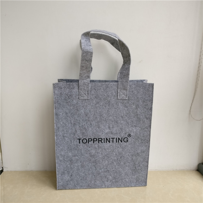 b86c5c76d7f7 Wholesale 500pcs lot Customized print logo Eco Reusable Shopping Bags Felt  Luxury Packing Bag Tote Handbag Fashion Free shipping