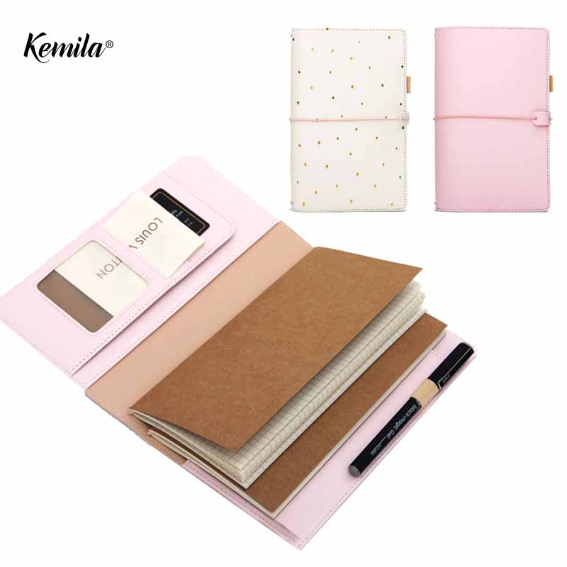kemila Kawaii Leather Notebook Travelers Notebook Diary Portable Journal Dotted Notebook Planner Agenda Organizer Caderno genuine leather notebook travelers journal agenda handmade planner notebooks diary caderno sketchbook school supplies