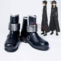 Athemis Anime cosplay Espada de arte Em Linha Kirito cosplay botas Hight qualidade sapatos de couro preto PU