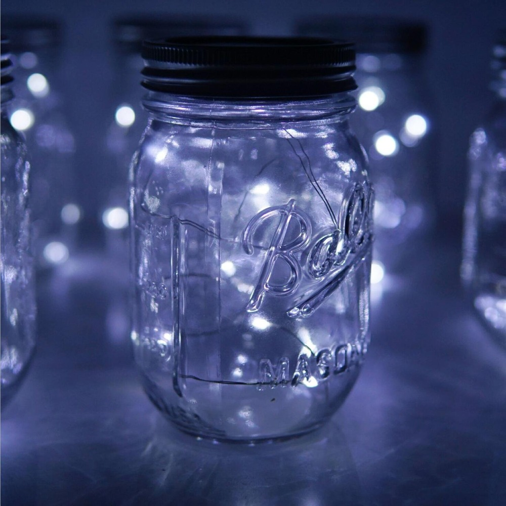 solar mason jar tampa luzes cor mudando