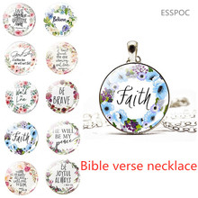 Bible Verses Necklace Glass Dome Pendant Scripture Quote Necklaces for Christian Faith Jewelry Religious Gift god is within her he will not fall bible verse quote necklace scripture necklace glass cabochon silver pendant christian gift