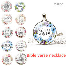 Bible Verses Necklace Glass Dome Pendant Scripture Quote Necklaces for Christian Faith Jewelry Religious Gift(China)