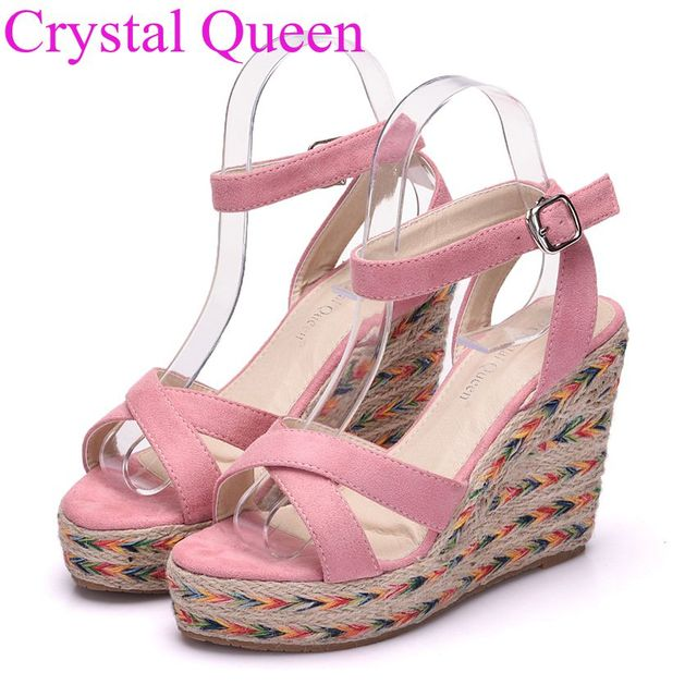 def27e3b515dbb Crystal Queen 9cm pink shoes sandals summer wedges platform sandals high  heel sandals plus size women shoes beach sandals