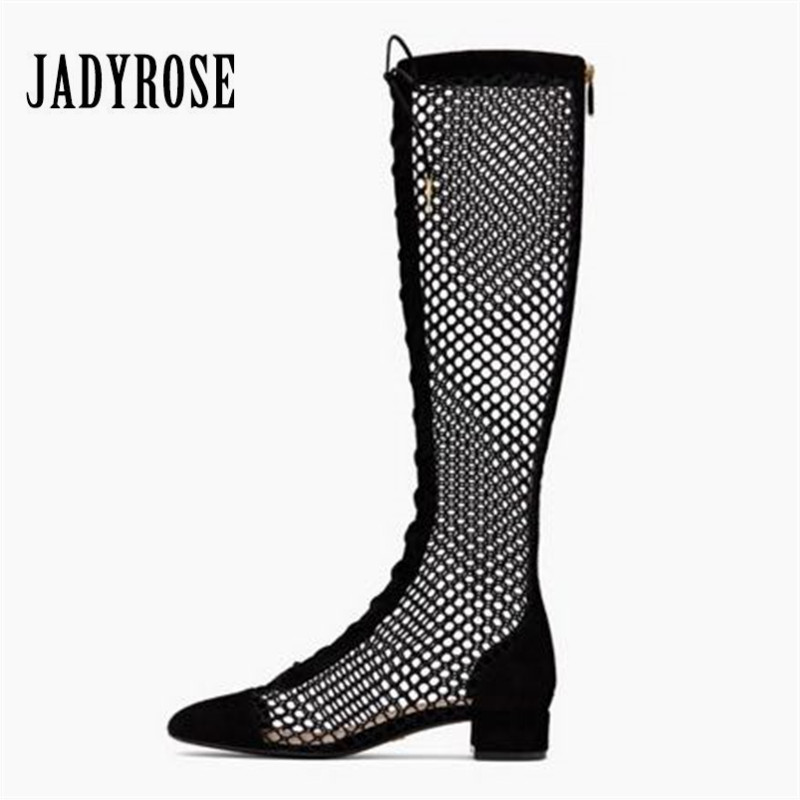 Jady Rose 2018 New Hot Women Summer Boots Hollow Out Gladiator Sandals Female Lace Up Knee High Boots Sandalias Mujer size 34 43 2018 new women summer boots fashion mesh gladiator sandals female knee high boots mujer breathable zip sexy lace boot