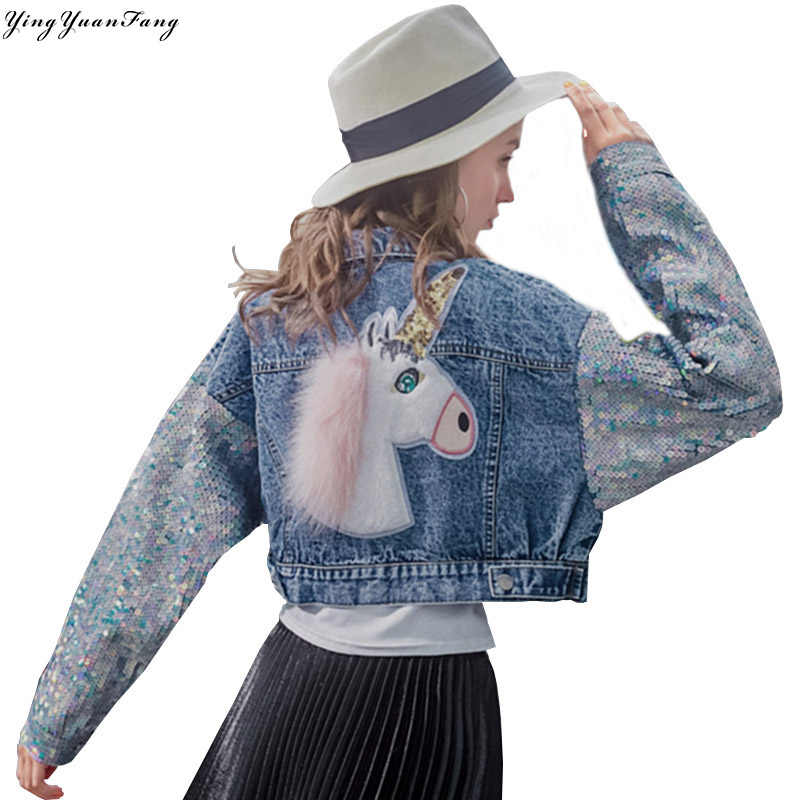 YingYuanFang Spring and Autumn Tide brand new heavy work patch sleeves sequins bat sleeves denim short
