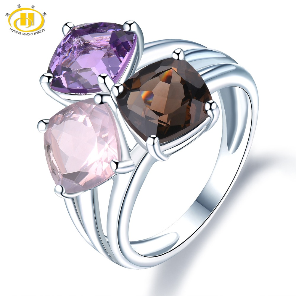 Hutang Wedding Women's Ring Natural Amethyst Rose Smoky Quartz Solid 925 Sterling Silver Rings Fine Elegant Jewelry New Arrival