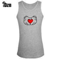 IDzn Fitness Bodybuilding Clothing Gym Singlets Men Tank Tops Funny Mouse Hand Gesture LOVE She S