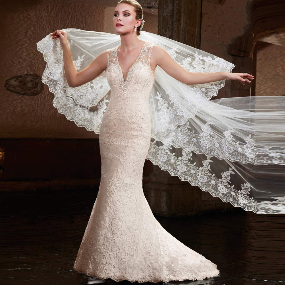 Robe De Mariage Mermaid Wedding Dresses Sheer Beadings