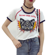 Summer 2017 Streewear Cat Embroidery Letters Women T shirt Camisas Feminia Roupas White tee tops Casual O Neck tees Tunic